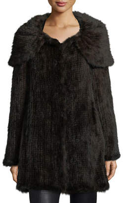 Belle Fare Mink Fur Oversized-Collar Coat