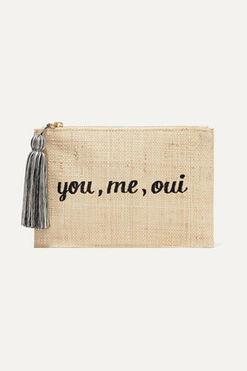 Kayu Embroidered Woven Straw Pouch - Sand