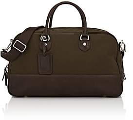 Fontana Milano 1915 Men's Leather-Trimmed Duffel Bag-Olive