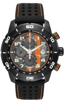 Citizen Mens Primo Chronograph Watch in Black and Orange