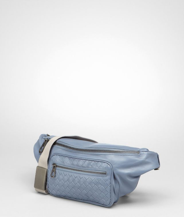 Bottega Veneta Krim stone intrecciato light calf belt bag