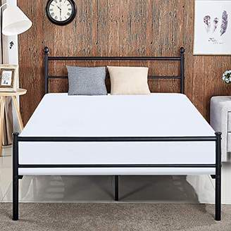 VECELO Reinforced Metal Bed Frame Queen Size Platform Mattress Foundation/Box Spring Replacement with Headboard & Footboard