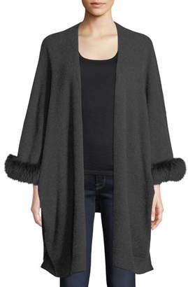 Neiman Marcus Luxury Cashmere Kimono Cardigan w/ Fur Cuffs