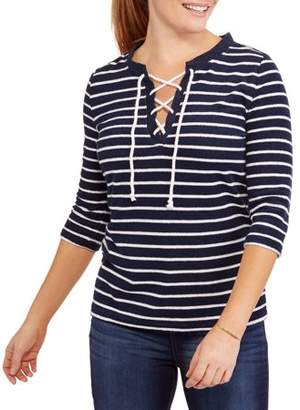 Mia Kaye Women's Nautical Terry Cloth Striped Pullover with Rope Lace-Up
