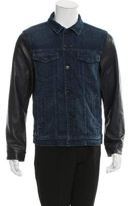 J Brand Leather-Accented Denim Jacket