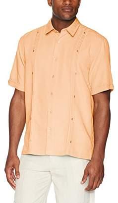 Cubavera Men's Big Short Sleeve Cuban Camp Shirt with Contrast Insert Panels