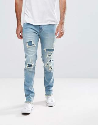 Hoxton Denim Slim Fit Jeans with Heavy Rips