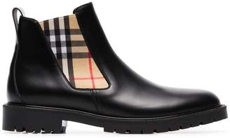 Burberry black check panel leather Chelsea boots