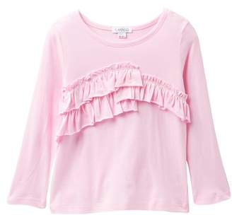 Flapdoodles Fundamental Long Sleeve Ruffle Tee (Toddler & Little Girls)