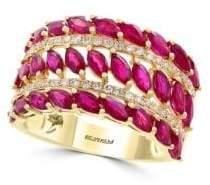 Effy Natural Ruby, Diamond & 14K Yellow Gold Three-Row Ring