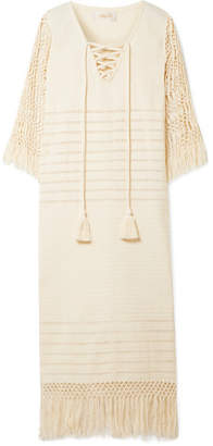 Jaline - Heidi Pointelle-knit Cotton And Macramé Coverup - Ecru