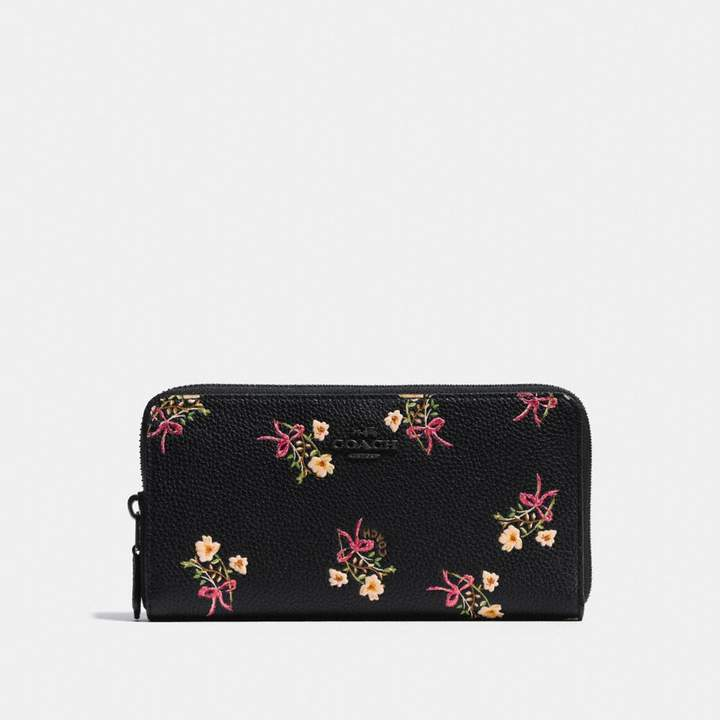 Coach New YorkCoach Accordion Zip Wallet With Floral Bow Print - BLACK/BLACK COPPER - STYLE