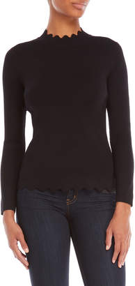 Cable & Gauge Scalloped Mock Neck Sweater