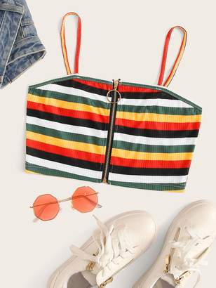 Shein Rainbow Striped Zip Up Crop Cami Top