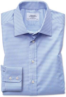 Charles Tyrwhitt Slim Fit Large Puppytooth Sky Blue Cotton Dress Shirt Single Cuff Size 15/34