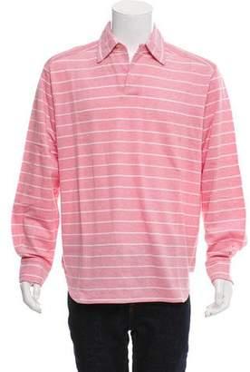 Luciano Barbera Striped Long-Sleeve Polo Shirt w/ Tags