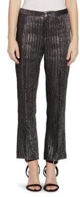 Isabel Marant Denlo Silver Metallic Cropped Trousers