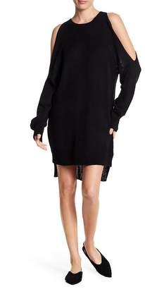 Lush Distressed Back Cold Shoulder Sweater Dress
