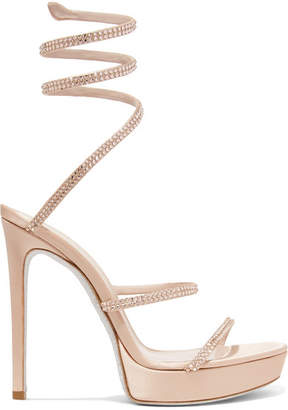 Rene Caovilla Cleo Crystal-embellished Satin Platform Sandals - Antique rose