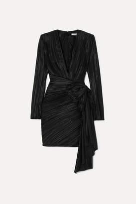 Givenchy Bow-embellished Plissé-satin Mini Dress - Black