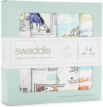 Aden Anais Aden + Anais Set of four Winnie The Pooh swaddles, Multi