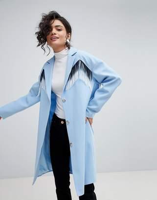 Asos DESIGN coat with fringing