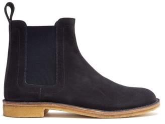 Bottega Veneta Round Toe Suede Chelsea Boots - Mens - Navy