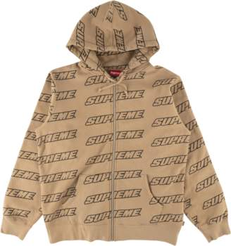 Supreme Repeat Zip Up Hooded Sweatshir - 'SS 18' - Light Brown