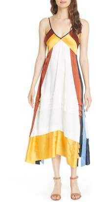 Tory Burch Sasha Colorblock Silk Midi Dress