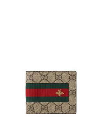 Gucci Web GG Supreme Bi-Fold Wallet with Bee, Beige $360 thestylecure.com