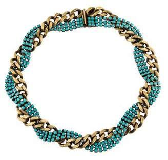 Elizabeth Cole Crystal & Chain Collar Necklace