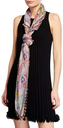 Etro Floral Paisley Silk Scarf w/ Tassel Fringe Border