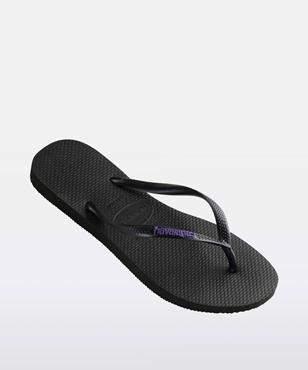 Havaianas Slim Rubber Logo Black Lilac Thong