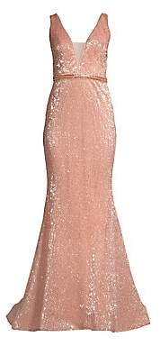 Jovani Women's Deep V Sequin Gown