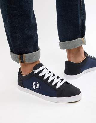 Fred Perry Baseline nylon mix sneakers in navy