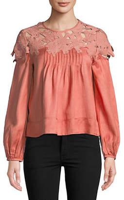 Saylor Megha Long-Sleeve Floral Lace Blouse