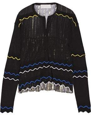 Peter Pilotto Paneled Stretch-Knit And Pleated Silk-Blend Lamé Cardigan
