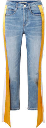 Hellessy Carlton Silk Satin-trimmed Distressed High-rise Straight-leg Jeans - Light blue