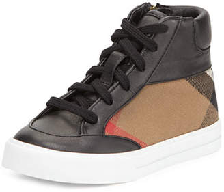 Burberry Haypark Mini Check High-Top Sneakers, Black/Tan, Toddler/Youth Sizes 10T-4Y