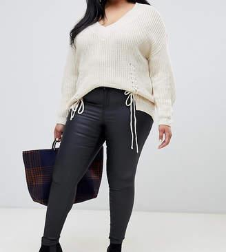 Vero Moda Curve coated denim jeans in black