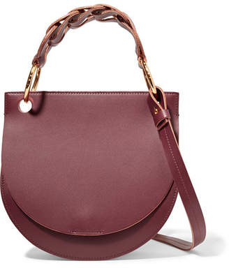 Marni Pebble Leather And Suede Shoulder Bag - Burgundy