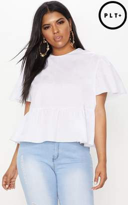 PrettyLittleThing Plus Orange Poplin Top