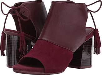 Kenneth Cole Reaction Women's Reach the Stars Peep Toe Flared Heel Lacing Tassel Detail-Suede Ankle Bootie