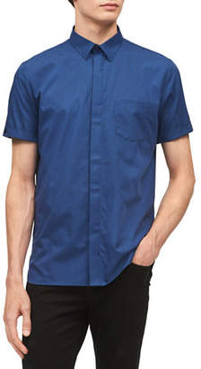 Calvin Klein Classic-Fit French Placket Short-Sleeve Cotton Sportshirt