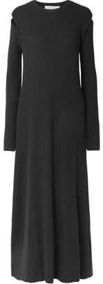 Marques Almeida Marques' Almeida - Cutout Ribbed Merino Wool Maxi Dress - Black