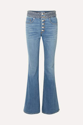 Veronica Beard Beverly Braid-detailed High-rise Flared Jeans - Blue