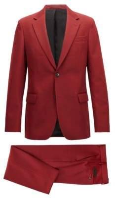 BOSS Hugo Made in Germany slim-fit suit in virgin-wool twill 36R Dark Red