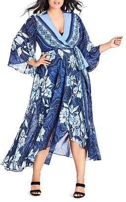 City Chic Plus Illusion Printed Maxi Wrap Dress