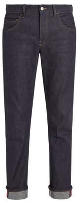 Gucci Straight Leg Stretch Denim Web Jeans - Mens - Blue