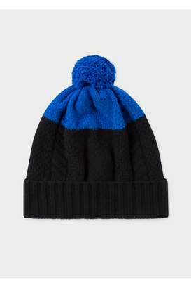 Paul Smith Men's Black And Blue Cable-Knit Beanie Hat
